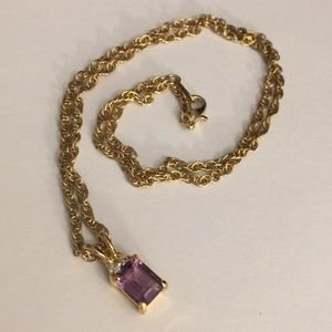 Faux jewel  pendant with gold rope chain necklac